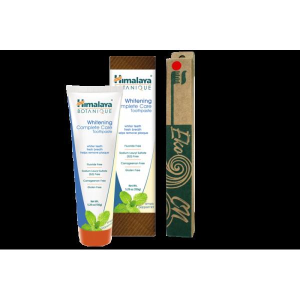 ПРОМО ПАКЕТ: Бамбукова четка за възрастни + Botanique Избелваща паста за зъби за цялостна грижа - Пепърминт